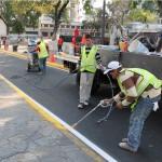 Limpieza  rayado de las calles y ornato en las adyacencias de la Plaza Sucre